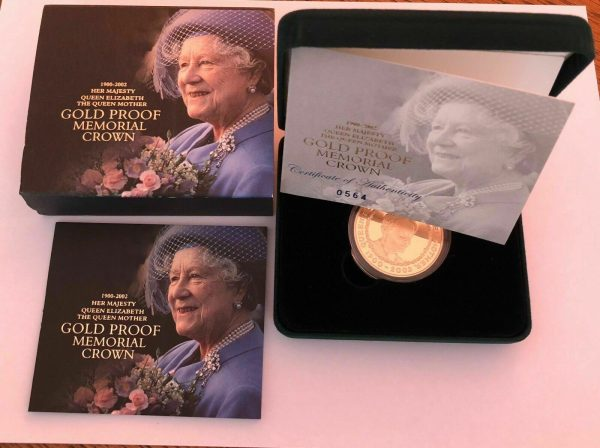2002 Five Pound Gold Proof £5 Queen Mother Memorial Crown ®-1400 image